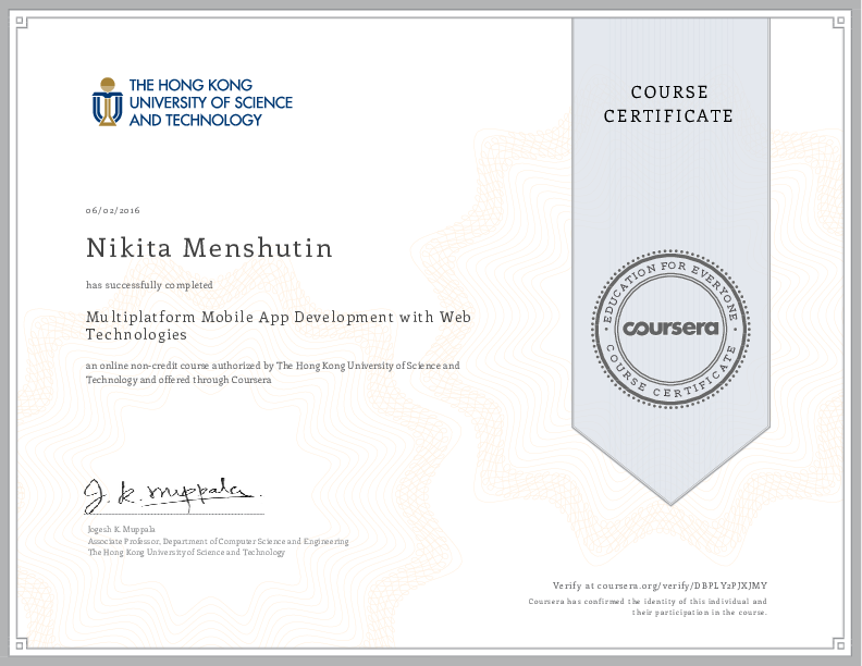 Multiplatform Mobile App Development with Web Technologies by The Hong Kong University of Science and Technology on Coursera